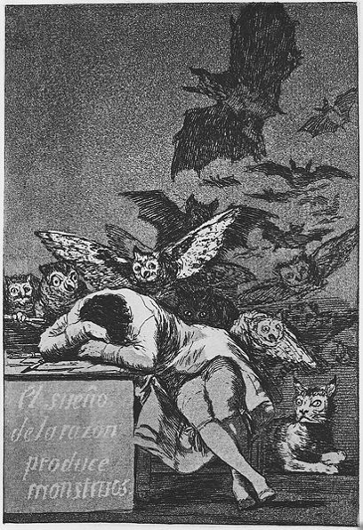 Francisco Goya. Capricho N° 43: El sueño de la razón produce monstruos